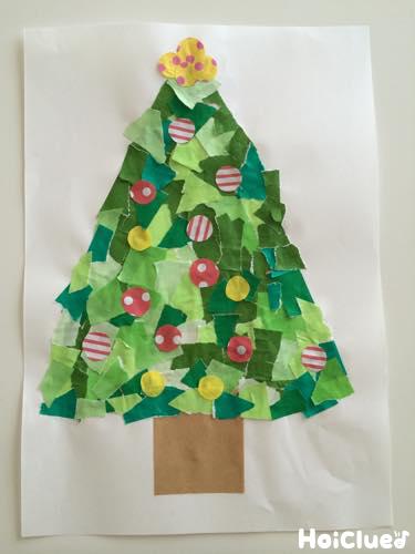 びりびりぺたぺたツリー〜乳児さんから楽しめるクリスマス製作遊び〜