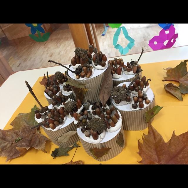 【アプリ投稿】どんぐりケーキ(3歳児共同製作)