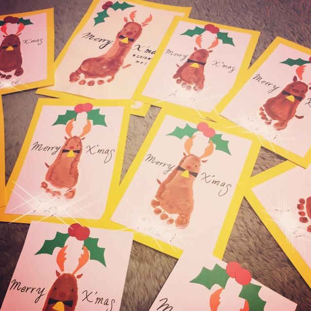【アプリ投稿】0歳児足型アートトナカイ