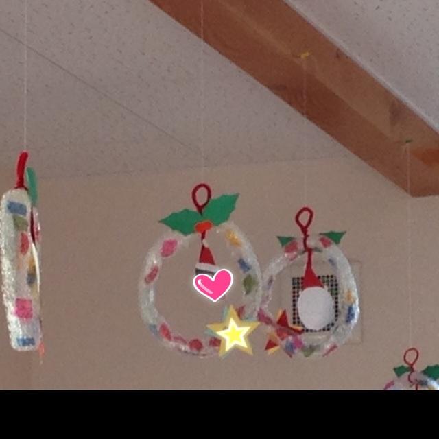 【アプリ投稿】クリスマス製作リース0歳児