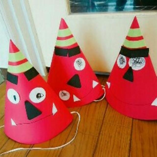 【アプリ投稿】節分製作(鬼の三角帽子)2歳児