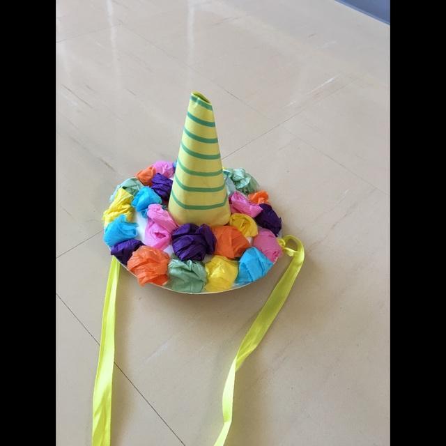 【アプリ投稿】【紙皿の鬼のツノ帽子】2歳親子