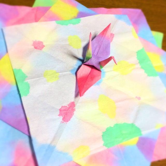【アプリ投稿】★染め紙でおりがみ