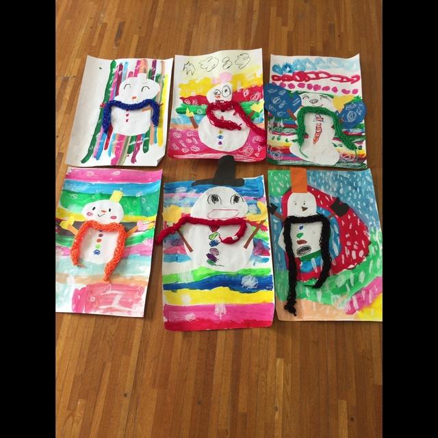 【アプリ投稿】年長★指編みマフラー付き✴︎雪だるま
