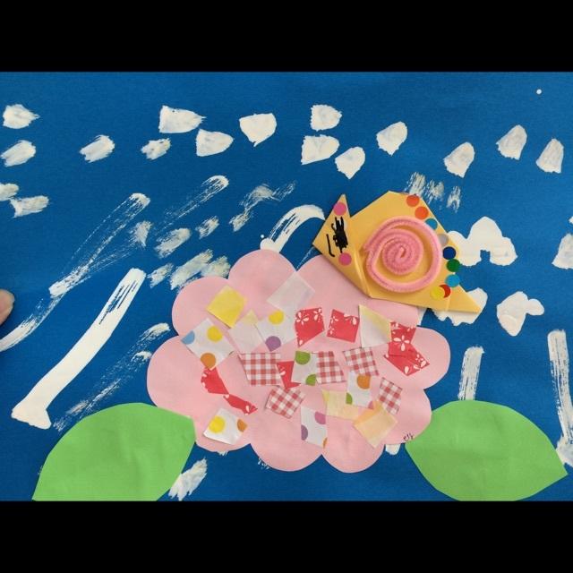 【アプリ投稿】製作 6月 カタツムリとアジサイ