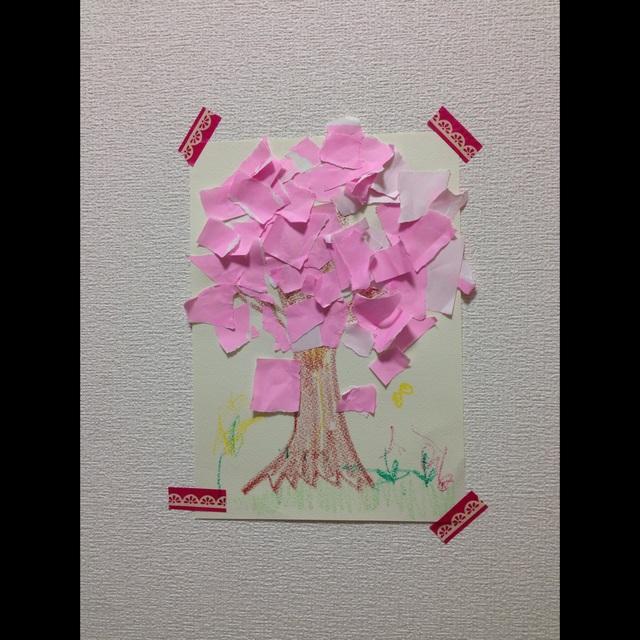 【アプリ投稿】【ちぎり絵で桜製作】