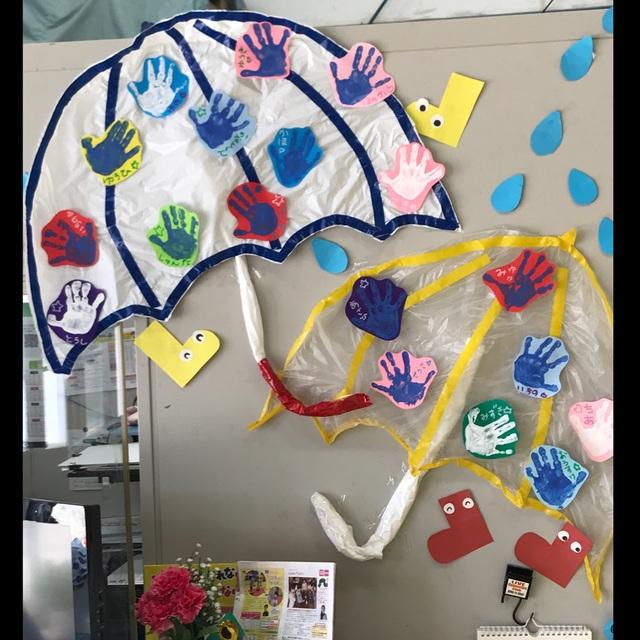 【アプリ投稿】6月壁面  傘《2〜4歳児》
