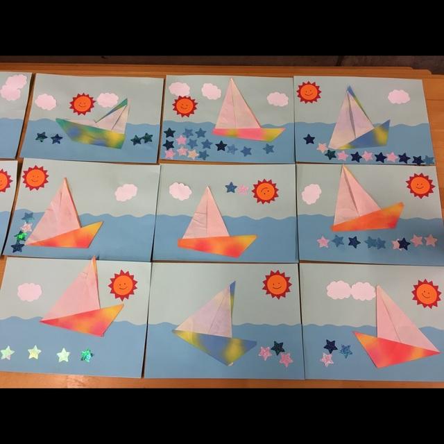 【アプリ投稿】3歳児 折り紙 ヨット⛵