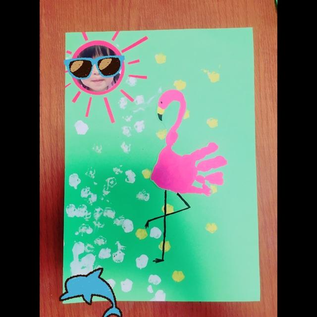 【アプリ投稿】[手形アート]フラミンゴとオクラスタンプ