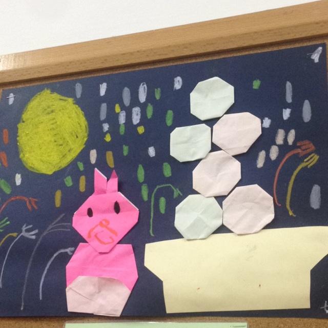 【アプリ投稿】3歳児 お月見 折り紙製作