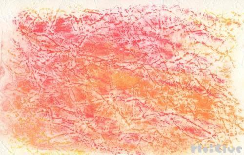 赤やオレンジ色を使って描いた空の絵