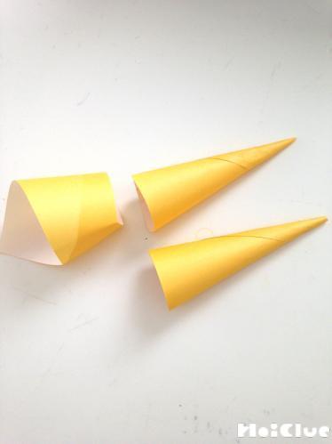 折り紙で円錐を作った写真