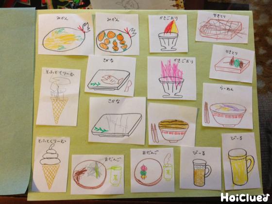 食べ物の絵を紙一面に貼ってある写真