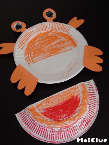色をつけた紙皿に目手足をつけた写真