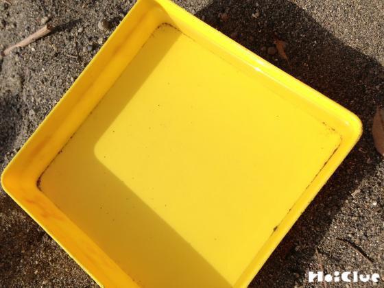 四角い容器に水を入れている写真
