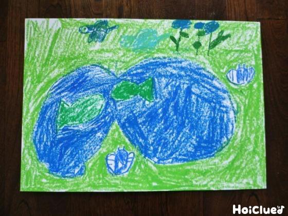 青と緑だけで描いた動物や景色の写真