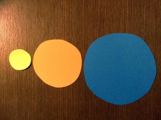 画用紙から大きさの違う丸を三枚切り抜いた写真