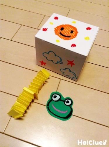 絵を描いた箱と、繋ぎ合わせたバネと、カエルの絵を切り抜いた写真