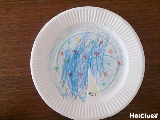 切り込みに沿って二枚のお皿を重ねている写真