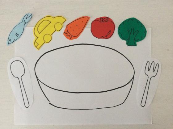 白い画用紙に描いたお皿とフォークナイフの絵の上に色紙でいろいろなものの絵を描いて切り取ったものを置いた写真