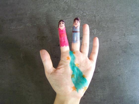 おりひめとひこぼしの指人形〜準備いらずのユニークお絵描き遊び〜