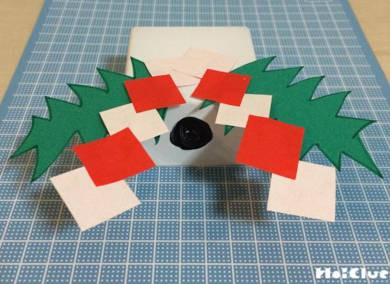 四角い三宝を作りその上に飾りをつけた写真