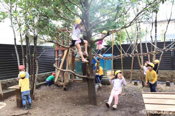 園庭で遊ぶ子どもたちの様子