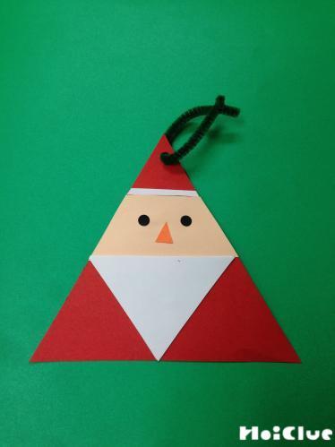 三角で作ったさんかくサンタの写真