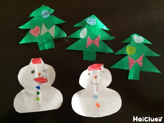 折って広げて…折り紙雪だるま&ツリー〜クリスマス飾りにぴったりの製作遊び〜