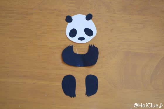 パンダの形に切り抜いた折り紙の写真