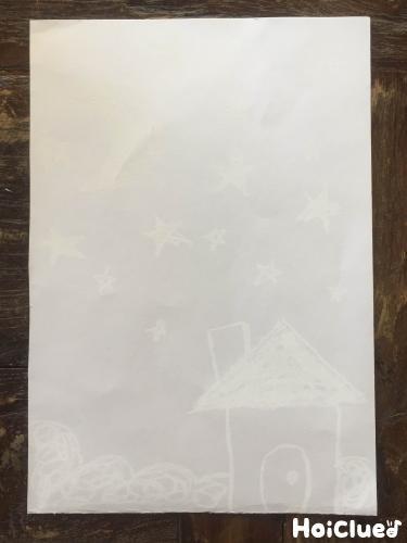 白画用紙に白で絵を描いた写真