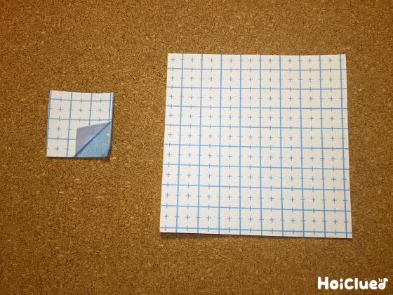 フェルトを長方形と四角形に切り取った写真
