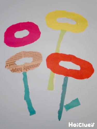 輪っかを貼り付けて花のようにしている写真