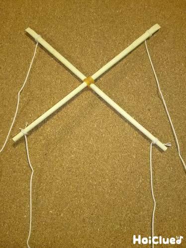 割り箸を十文字にして輪ゴムで縛った写真
