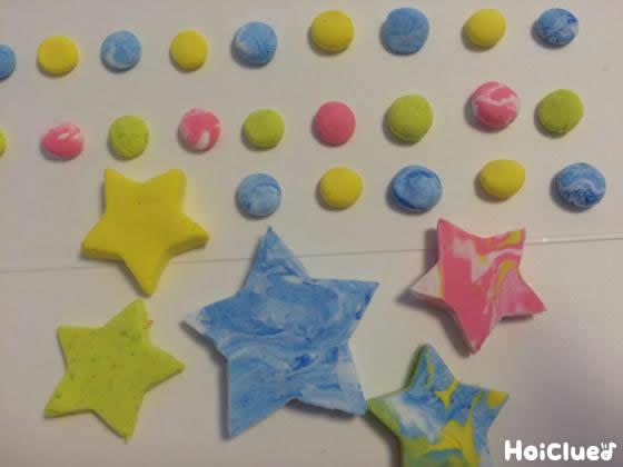 まるや星型の飾りを作った写真
