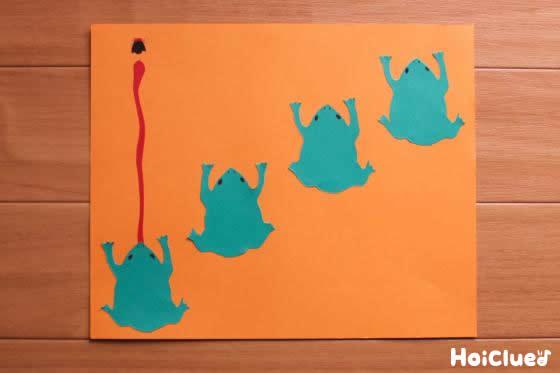 もう一枚にカエルの絵を4ひき描いた写真