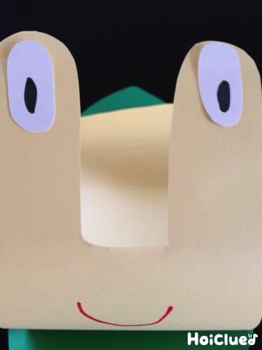 カタツムリの目と口をつけた写真
