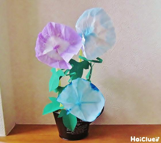 染め紙あさがお〜夏にぴったりの製作遊び〜