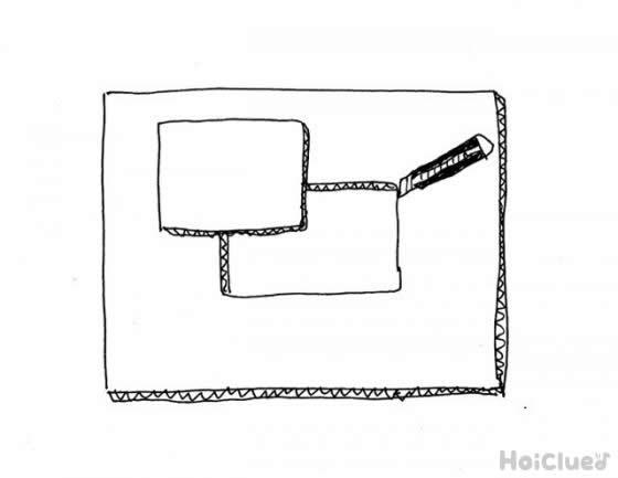 ダンボール板の中心をカッターで四角く切り抜くイラスト