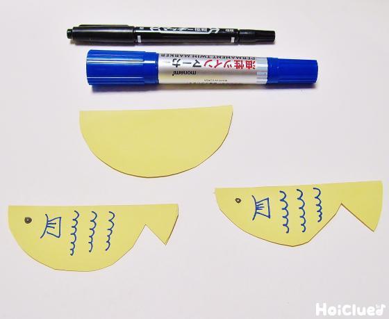 魚型に切り目やウロコを描いた様子