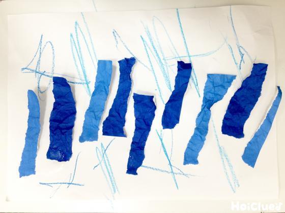 びりびり!折り紙ちぎり雨〜乳児さんも楽しめそうなちぎり絵遊び〜