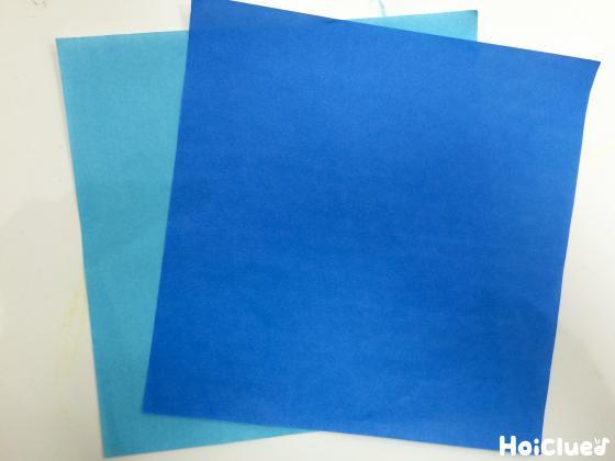 青系の折り紙の写真