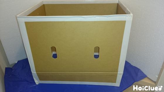 段ボール上下をカットして四角い箱にした写真