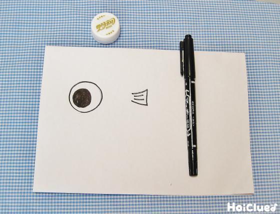 魚の目とヒレを描いた写真