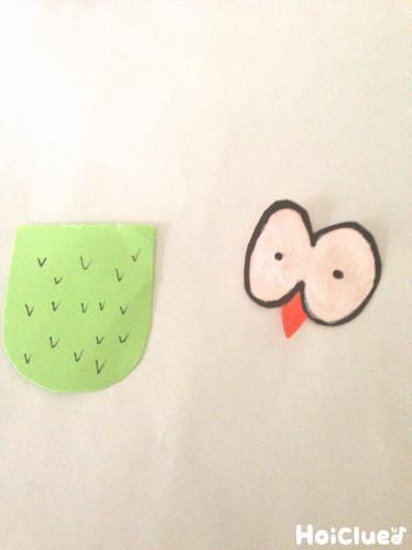 目と羽の部分を作った写真
