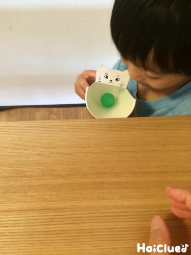 ボールが紙コップの中に入った写真