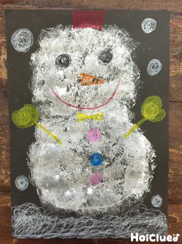 完成した雪だるまの絵の写真