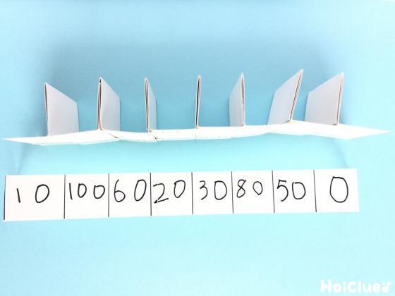 厚紙をジャバラ折にしてとめ仕切りに点数を書き込んた写真