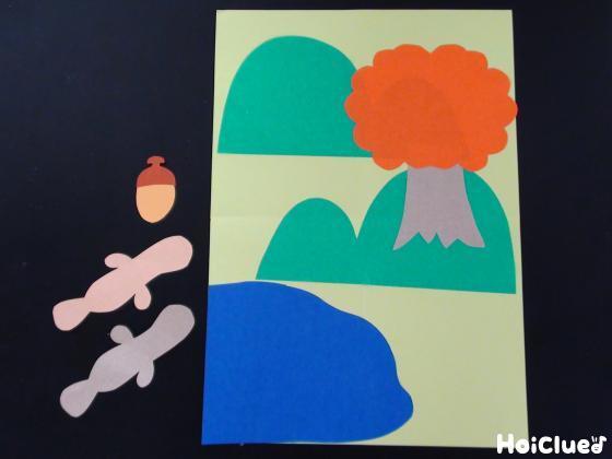 画用紙で作った絵とパーツの写真