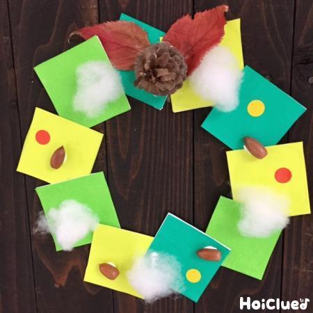 """""""しかく""""で楽しむクリスマスリース〜クリスマス飾りにぴったりの製作遊び〜"""